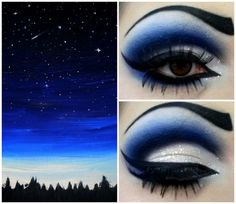 """Night Sky"" - Dark Blue Eyeshadow https://www.makeupbee.com/look.php?look_id=86249"
