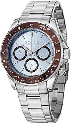 """SO&CO New York Mens Specialty Luminous Stainless Steel Professional Multifunction Dive Watch with Day & Date Classic styling and high performance add up to an outstanding mens stainless steel diver watch for your land or sea adventures. This mens stainless steel watch, from SO&CO New York's """"Specialty Platinum"""" series #SOandCO #WatchesDeals #Watches"""