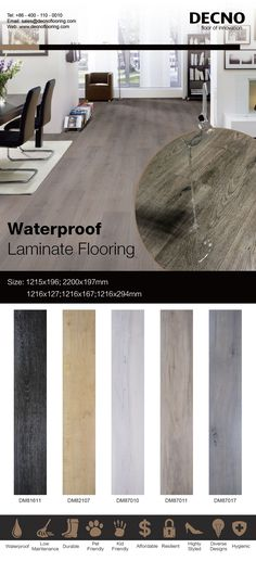 Now-days the leading trend for DECNO is the Waterproof Laminate flooring--- Ultra Core flooring. Waterproof laminate flooring combined the natural wood aspect with innovative high-density black substrate ,which ensures a genuine, mufti-functional, waterproof and mildew resistance laminate flooring. Main Features:  ●  Thickness:12.0mm          ●  Wear Layer: AC3,Class 31     ●  Size: 1218x198mm  sales@decnoflooring.com