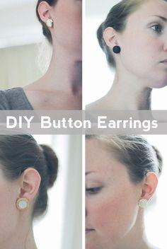 DIY Button Earrings via fellow fellow Diy Statement Earrings, Button Earrings, Diy Earrings, Stud Earrings, Simple Earrings, Cute Crafts, Crafts To Do, Dyi Crafts, Easter Crafts