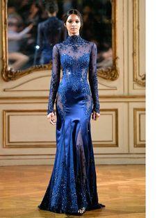 Zuhair Murad 2014. Beautiful sparkly long dark blue dress!