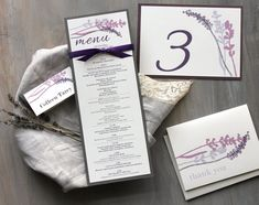 Wedding Menu in tema lavanda