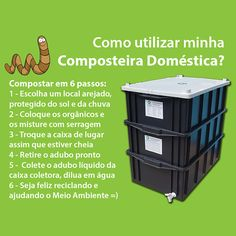 -A Composteira Doméstica transforma resto de comida, estrume, etc em composto orgânico, podendo ser utilizado como adubo -Kit Compostagem indicado para 1 ou 2 pessoas -Inclui minhocas californianas -Gera mensalmente 10kg de hummus