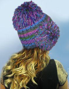 """Купить Тёплая вязаная шапка """"Глубина океана"""" - подарок девушке, подарок, идеальный подарок"""