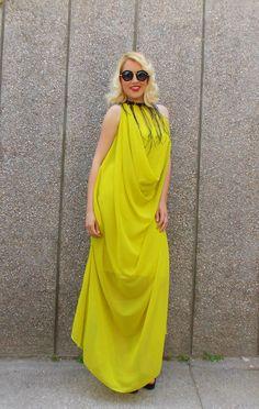 Stylish Summer Kaftan / Summer Maxi Dress / Elegant Yellow
