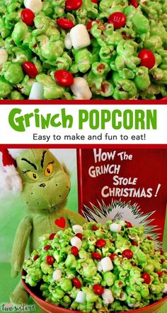Grinch Popcorn - Easy to make and fun to eat! The perfect combination for a yummy Christmas Dessert.  Sweet, salty and delicious this one of those fun and delicious Christmas Desserts that will get rave reviews from adults and kids alike.  #ChristmasDesserts #ChristmasDessertRecipe #ChristmasDessertIdeas