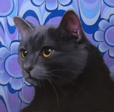 A Milestone: I'm in the Cat Art Show Los Angeles, painting by artist Diane Hoeptner