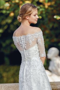 Sincerity Bridal - Style Beaded Lace Applique A-Line Gown with Jacket Sincerity Bridal, Wedding Dress Trends, Wedding Dresses, Gown With Jacket, Bridal Traditions, Sheath Wedding Gown, Beaded Jacket, A Line Gown, Casual Wedding