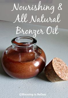 Nourishing & Natural Bronzer Oil with Coconut Oil, Shea Butter, & Bronze Mica to give you a natural tan glow you can customize to your skin type.