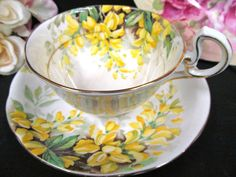 ROYAL STANDARD TEA CUP AND SAUCER GOLD TRIMS & PAINTED FLOWERS PATTERN TEACUP
