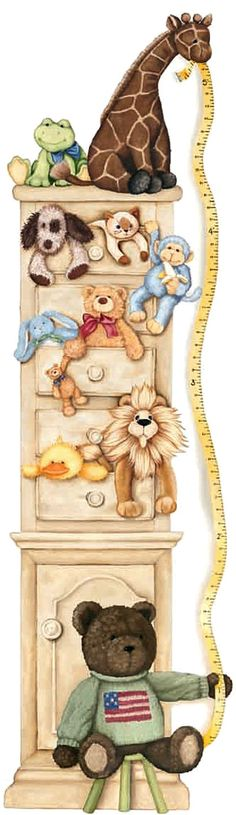 Stuffed Animals Chest Drawers Growth Chart Accent Mural BORDE