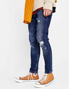 Tapered ripped skinny jeans - New - Bershka Ukraine 75247deb1aee
