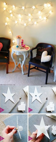 Starry DIY Wall String Light Ideas and Decor |  21 DIY Room Decor with String Lights by DIY Ready at  http://diyready.com/diy-room-decor-with-string-lights-you-can-use-year-round/