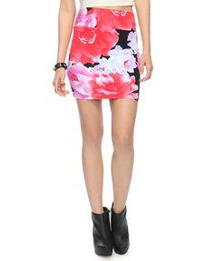 Floating Roses Bodycon Skirt   FOREVER21 - 2000042659