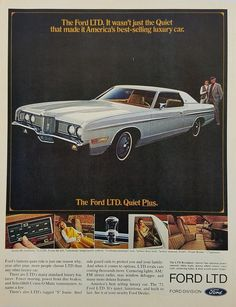 Vintage Ford LTD advertisement. Vintage Advertisements, Vintage Ads, Vintage Stuff, Good Looking Cars, Ford Ltd, Ad Car, New Sports Cars, Ford Classic Cars, Old Fords