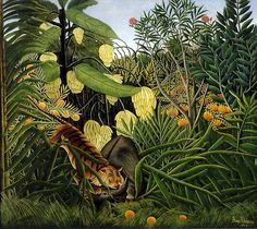 "Henri Rousseau Le Douanier (Il doganiere), ""Fight Between a Tiger and a Buffalo (Combattimento tra una tigre e un bufalo)"", The Cleveland Museum of Art, Cleveland (OH) Henri Rousseau Paintings, Illustration Arte, Forest Illustration, Antique Illustration, Poster Online, Cleveland Museum Of Art, Cleveland Ohio, Art Moderne, Naive Art"