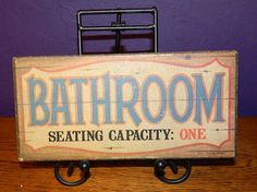 Vintage Sign- Bathroom Seating Capacity: One with Wood Look Bathroom Decor