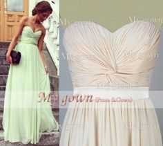 Green&Champagne Strapless Draped Floor Length Chiffon Prom Gowm Dresses Bridesmaid Dresses Wedding Cocktail Dress