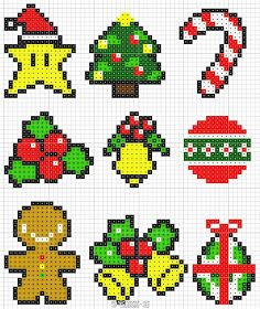 Christmas Perler Bead Patterns, could use these for making my advent calendar Perler Bead Designs, Hama Beads Design, Pearler Bead Patterns, Diy Perler Beads, Perler Bead Art, Perler Patterns, Quilt Patterns, Pixel Art Noel, Easy Pixel Art