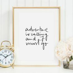 Digitaldruck - Poster, Kunstdruck, Spruch: Adventure is calling - ein Designerstück von Tales-by-Jen bei DaWanda