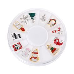 12Pcs 3D Tips Christmas Nail Art Decoration Alloy Jewelry Glitter Rhinestones Slice Stickers Decal Foil Wheel DIY Tools Manicure #ChristmasNails