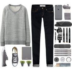Dark grey by berina-2000 on Polyvore featuring Uniqlo, Abercrombie & Fitch, Falke, Converse, Bobbi Brown Cosmetics, Aesop, Mulberry, Bamford, Crate and Barrel and Parker
