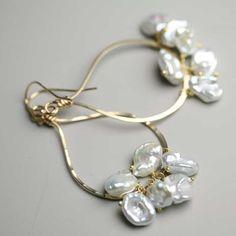 Pearl Earring Rounded Gold Fill Teardrop Keshi. via Etsy.