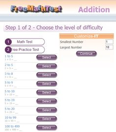 """This is an image from this resource on the Internet4Classrooms' """"First Grade Interactive Math Skills - Adding"""" resource page:    Fundamental Math: Adding Numbers.    Choose level of difficulty or customize for any number range and then select the number of questions. Self-checking."""