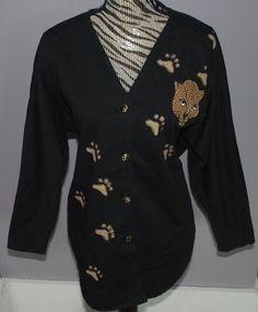 Bingo! Bingo! Jacket Cardigan Ladies Medium Black Leopard Animal Print Cats VTG #BingoBingo #BasicJacket