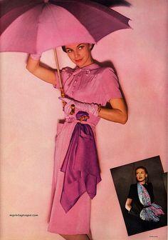 Vintage Vogue- in pink Vintage Glam, Moda Vintage, Vintage Vogue, 1940s Fashion, Pink Fashion, Steampunk Fashion, Woman Fashion, Gothic Fashion, Vestidos Pin Up