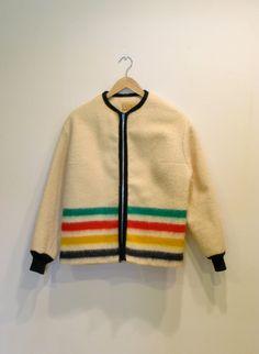 1950s Hudson Bay Jacket / Vintage Wool Multi Stripe Hudson Bay Coat