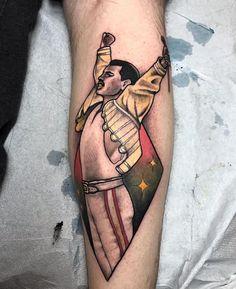Freddie Mercury by Helena Darling from Darling Tattoos - Halifax Nova Scotia - Creepy Tattoos, Top Tattoos, Sexy Tattoos, Body Art Tattoos, Tattoos For Women, Portrait Tattoos, Tatoos, Band Tattoo, Tattoo You