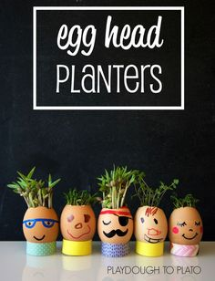 What an awesome science project for Easter or Earth Day! I love that it's perfect for preschool, kindergarten or first graders. # Gardening kids Egg Head Planters - Playdough To Plato Earth Day Activities, Easter Activities, Spring Activities, Activities For Kids, Science Activities, Science Experiments, Therapy Activities, Preschool Science, Science For Kids