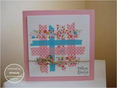 Miranda's Creaties - Geboorte kaart roze met washi tape