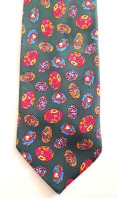 Churchill Collection Neck Tie 100% Silk Novelty Egg Print Green Statement Unique #ChurchillCollection #Tie
