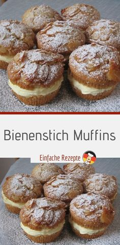 Bee sting muffins- Bienenstich Muffins Ingredients: for the topping: 80 g whipped cream 30 g honey, clear, aromatic 20 g sugar 160 g almond (s) flaky for the dough: 250 g flour (wheat flour) - Easy Smoothie Recipes, Easy Cake Recipes, Cupcake Recipes, Cookie Recipes, Snack Recipes, Cheesecake Recipes, Keto Friendly Desserts, Low Carb Desserts, Cinnamon Cream Cheese Frosting