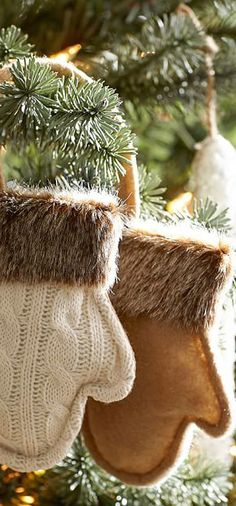 Fur Trim Mittens Ornaments