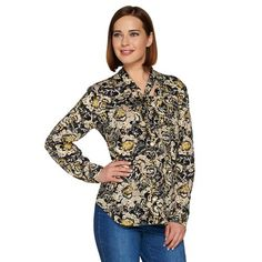 Classy yet casual, this C. Wonder blouse is dressed up with neck tie detail at… Preppy Outfits, Qvc, Maxi, Floral Prints, Dress Up, Buttons, Blouse, Biker, Casual