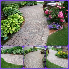 Stunning paver walkway wrapping around the side of home - perhaps this design for a covered walkway from garage to deck Paver Sidewalk, Paver Walkway, Front Walkway, Brick Pavers, Backyard Pavers, Brick Driveway, Covered Walkway, Brick Path, Concrete Walkway