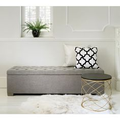 Buttons Grey Ottoman - The French Bedroom Company