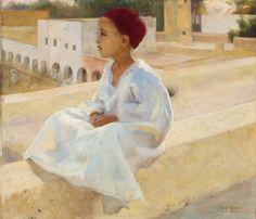Peinture Algérie - Jeune garçon sur la terrasse von Paul Alexandre Alfred Leroy