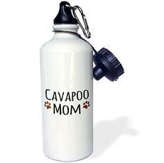 3dRose wb_154094_1 Cavapoo Dog MomDoggie by breedbrown muddy paw prints lovedoggy loverproud mama pet owner Sports Water Bottle 21 oz White *** Read more reviews of the product by visiting the link on the image.