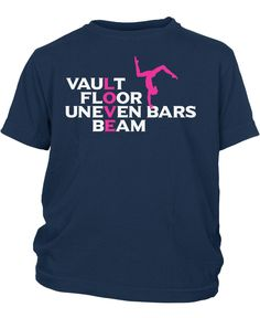 Vault Floor Uneven Bars Beam - Love Gymnastics T-Shirt. Do you love gymnastics? Then this is the t-shirt for you! Order here - https://diversethreads.com/products/love-gymnastics?variant=10917471877