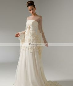 Fashion A-line Scoop Floor-length Poet-Sleeve Court Train Lace Embellishing Wedding Dresses
