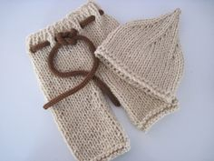 Knit baby pants with drawstring and pixie hat set - Newborn. $28,00, via Etsy.