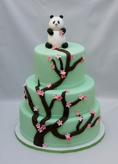 Panda with cherry blossom baby shower cake...not a tiered cake though.