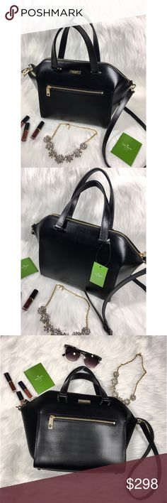 """♠️♠️Kate Spade NWT ♠️♠️ The perfect Christmas present or for yourself :) ❄️ Black leather Kate Spade adjustable cross body bag. Straps come off too! So cute :)   Description   9.5"""" w, 8.5"""" h, 5.5"""" d  4.5"""" top handle, 22"""" strap adjustable Black leather with gold zipper closure  Front pouch with zipper closure 3 pouches inside, 1 has zipper closure kate spade Bags Crossbody Bags"""
