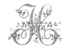 Antique FRENCH FLORAL ALPHABET Large Letter - H - Monogram Initial Embroidery Sewing Pattern Stencil Plus Transparent and Reverse Images