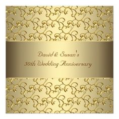 Gold Swirls Gold 50th Wedding Anniversary Party Personalized Invitation $2.20 per card
