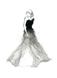 Watercolor Fashion Illustration - Fade to White print. via Etsy.